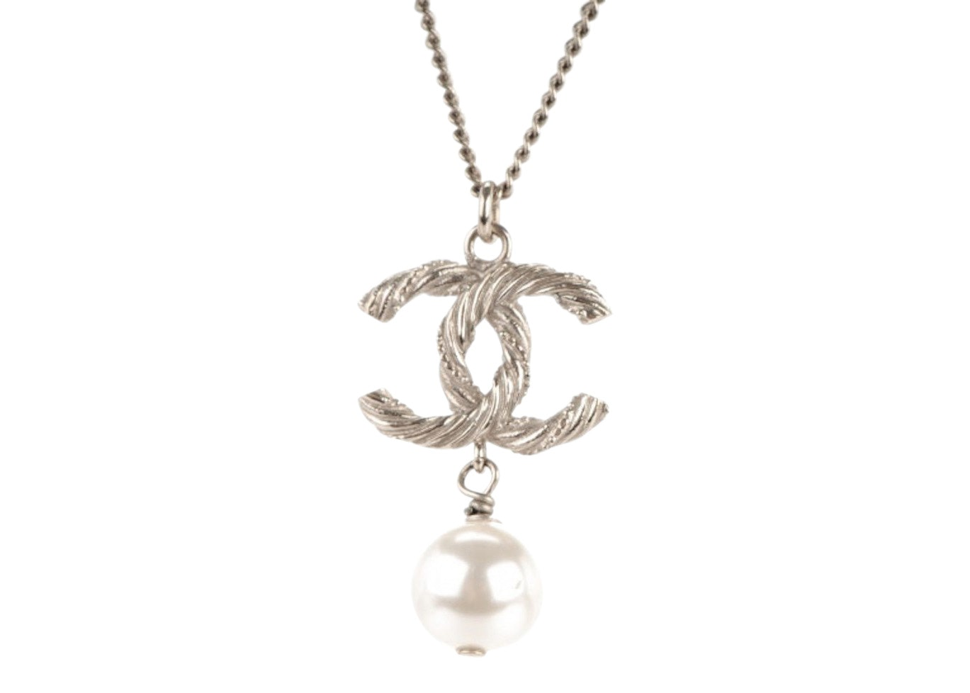 Chanel Twisted Interlocking CC Pearl Drop Necklace Silver
