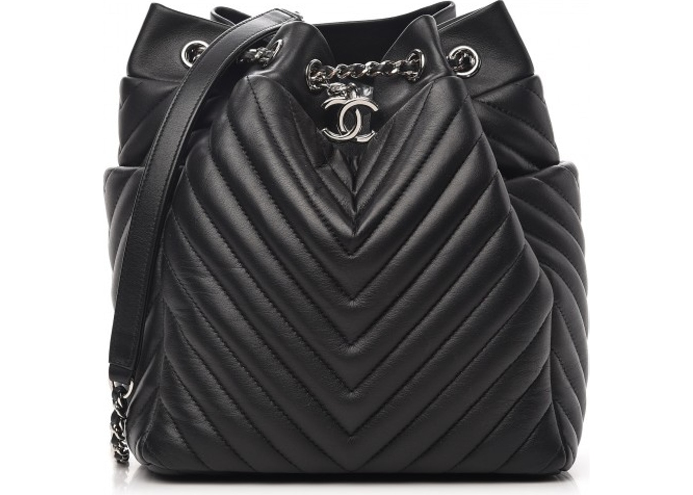 a4368454b9d0 Chanel Urban Spirit Drawstring Bag Quilted Chevron Small Black. Quilted  Chevron Small Black