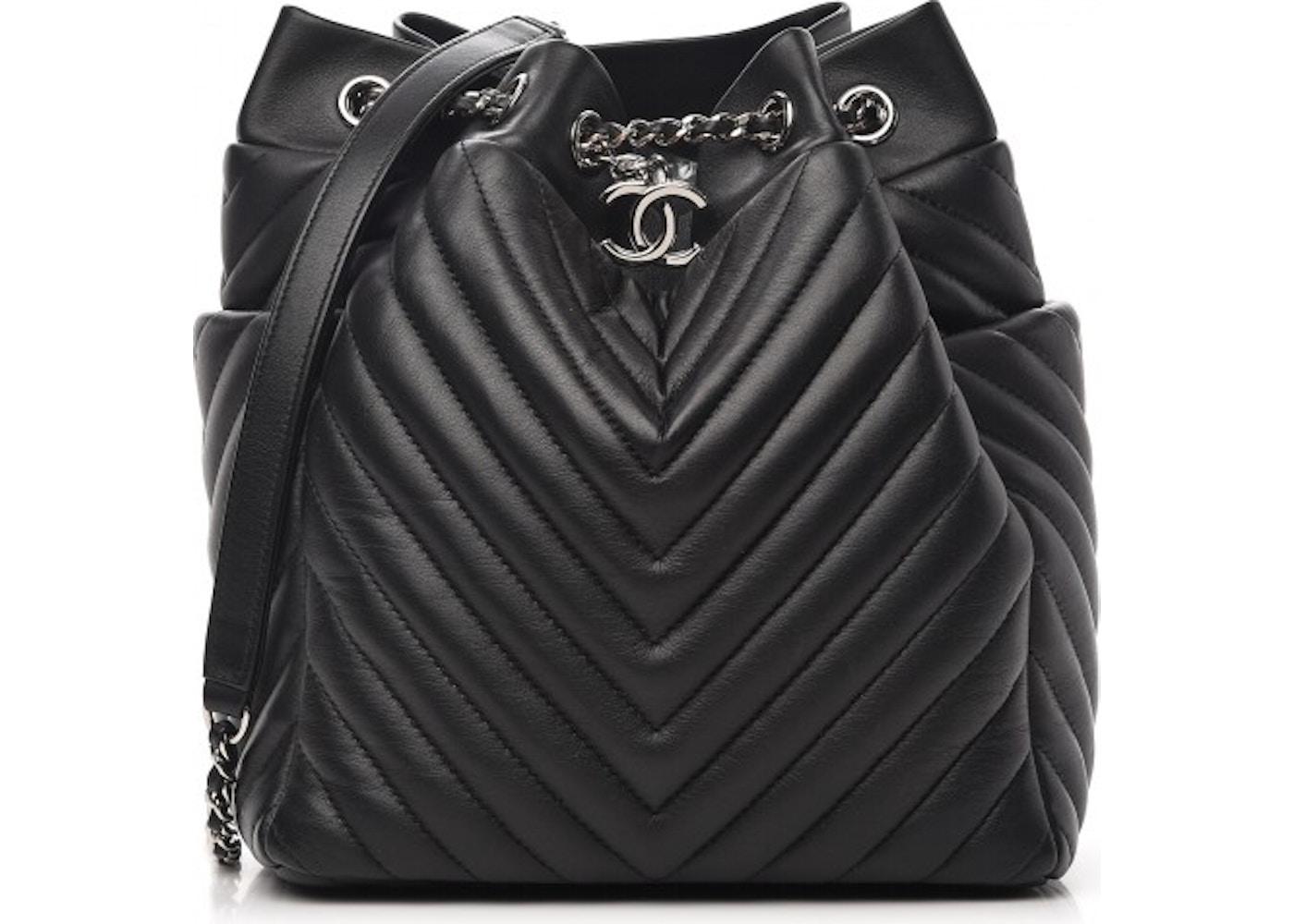Chanel Urban Spirit Drawstring Bag Quilted Chevron Small Black. Quilted Chevron  Small Black 2f171ec24cf62