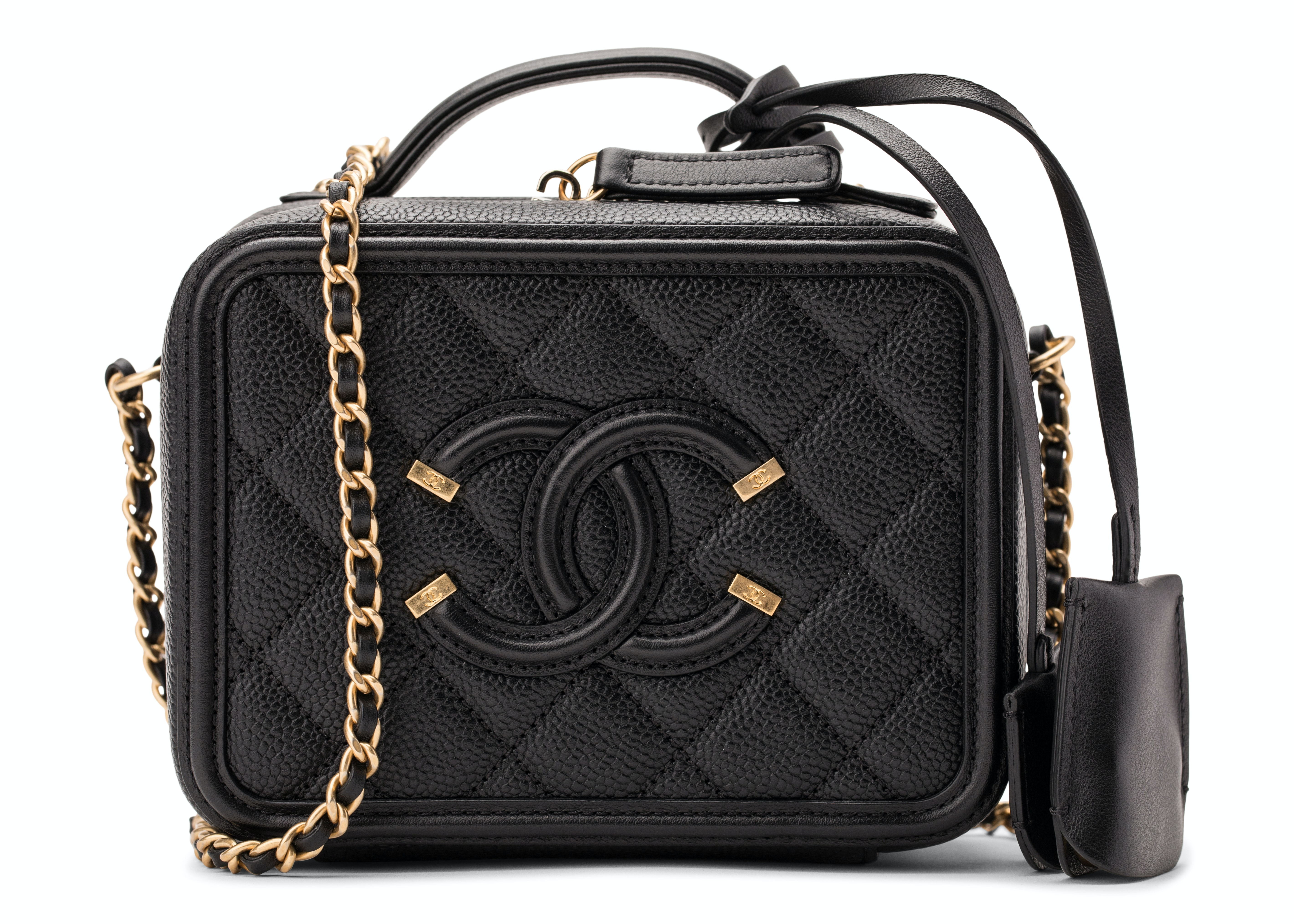 Chanel Vanity Case Diamond Quilted CC Filigree Small Black