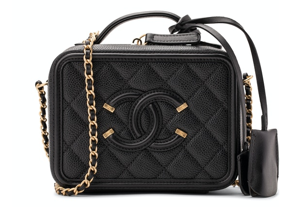 2dc338d01584 Chanel Vanity Case Diamond Quilted CC Filigree Small Black