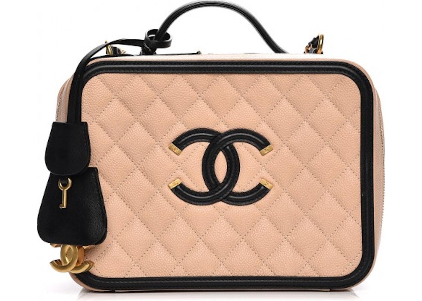 beb475974f14 Chanel Filigree Vanity Case Diamond Quilted CC Large Beige/Black