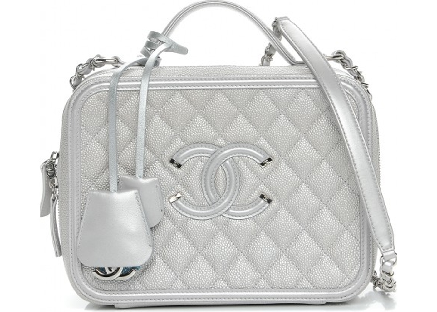 9c4d24a58b70 Chanel CC Filigree Vanity Case Quilted Diamond Metallic Large Silver.  Quilted Diamond Metallic Large Silver