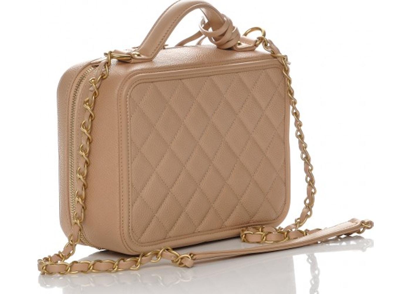 7cd737c5596d Chanel Vanity Case Diamond Quilted CC Filigree Medium Beige