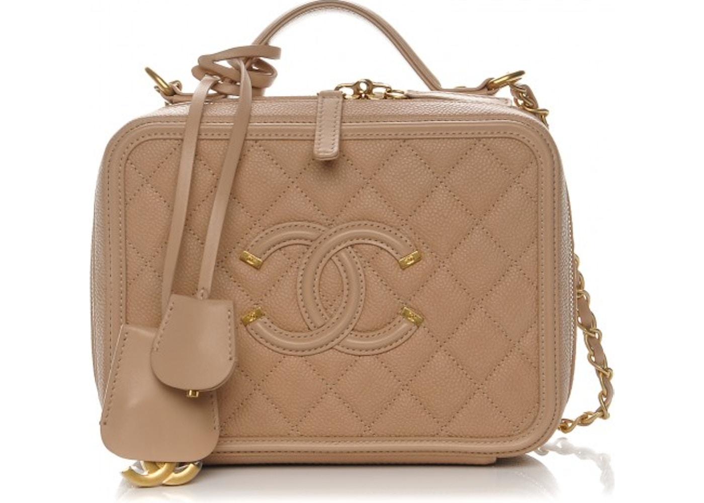 bc3374ffc111 Chanel Vanity Case Diamond Quilted CC Filigree Medium Beige. Diamond  Quilted CC Filigree Medium Beige