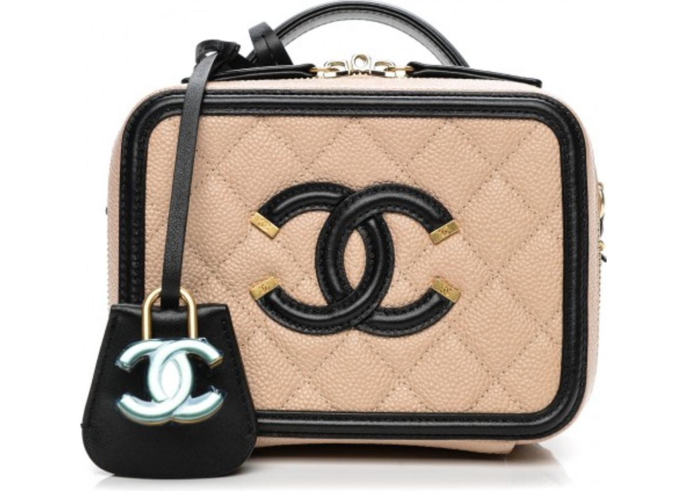 e0300f8dd052 Chanel Vanity Case Diamond Quilted CC Filigree Small Beige/Black