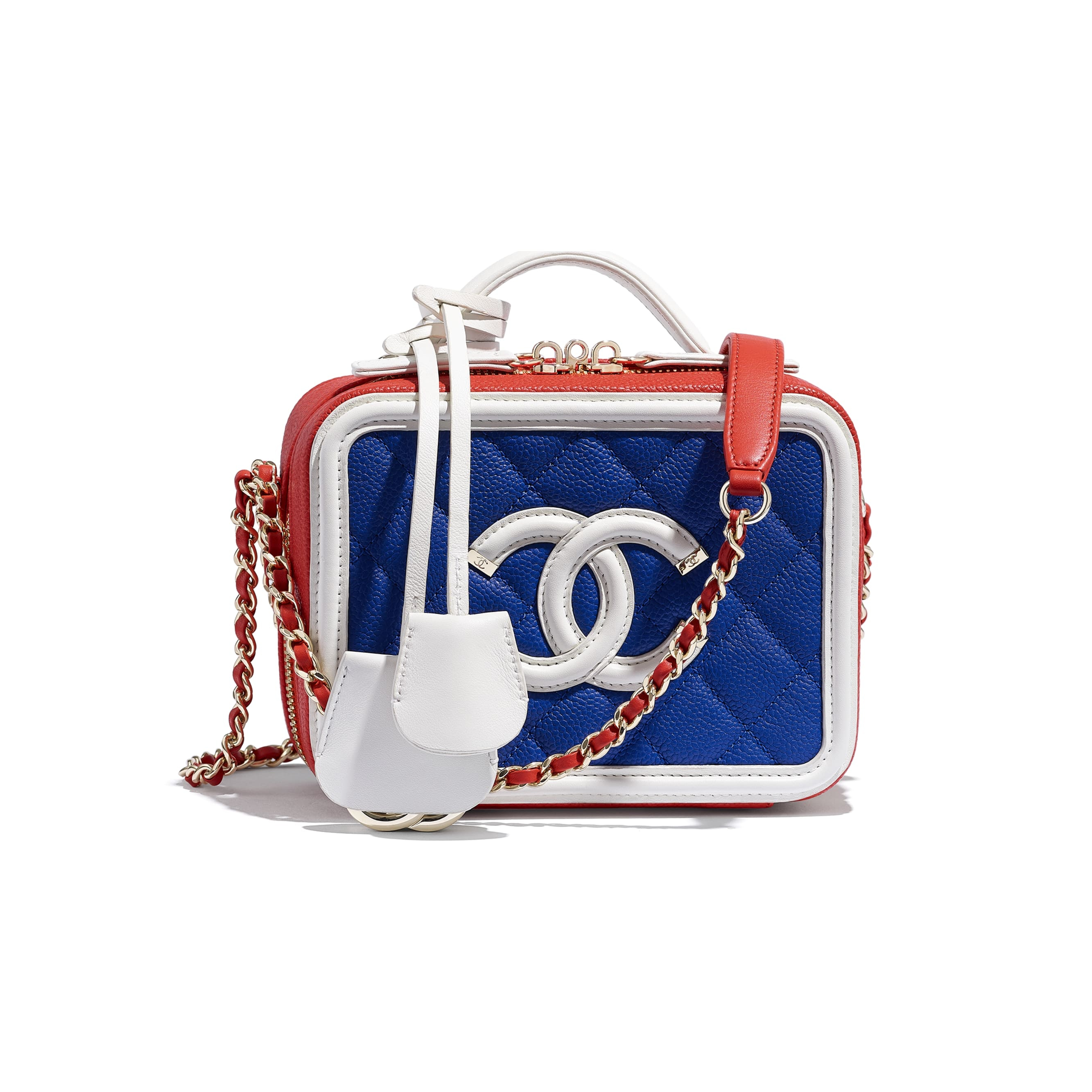 Chanel Vanity Case Quilted Grained Calfskin Gold-tone Blue Multicolor
