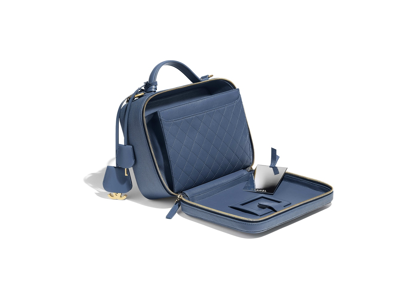 f0dadbe35271 Chanel Vanity Case Quilted Grained Calfskin Gold-tone Large Dark Blue