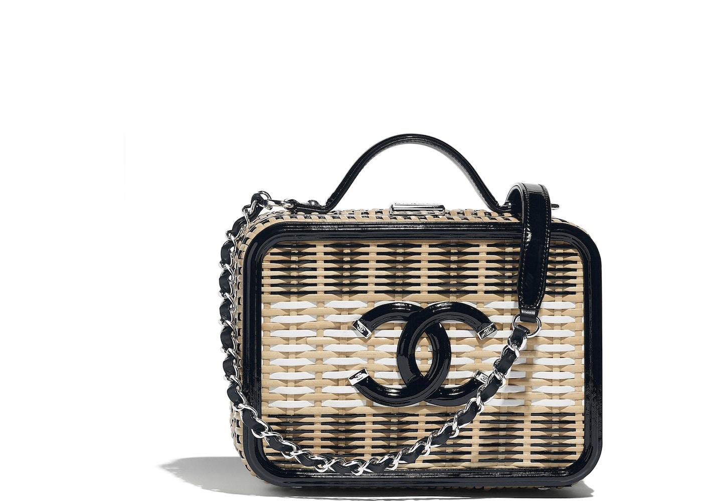 30e07ec5e85a Chanel Vanity Case Rattan Beige Black White. Rattan Beige Black White