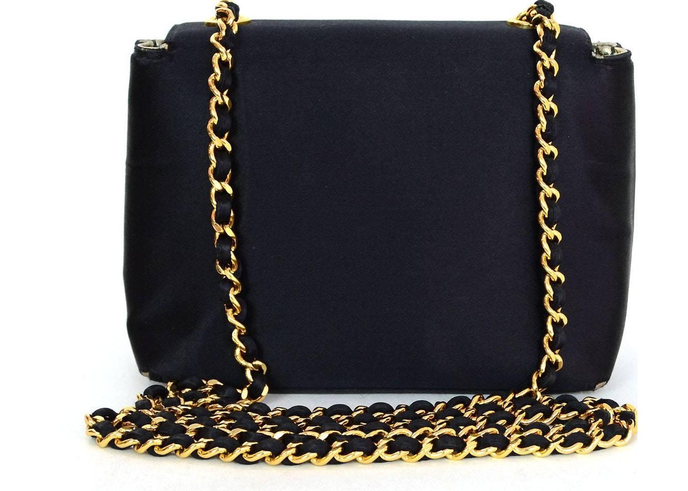 e32be60c5d94 Chanel Vintage Camellia Flap Bag Satin Mini Black