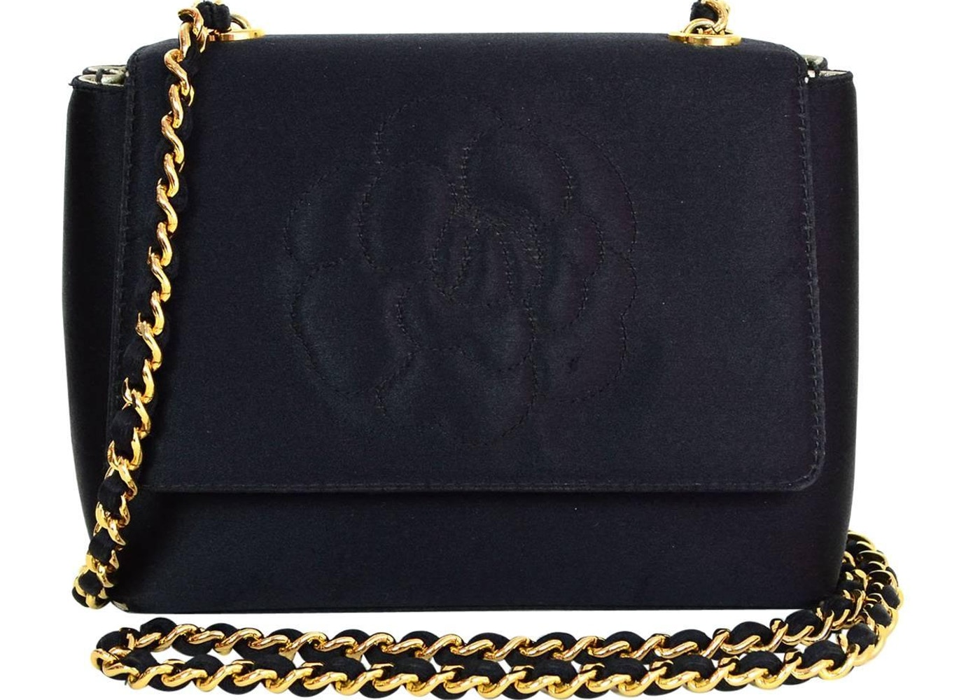 95907d1e21335 Chanel Vintage Camellia Flap Bag Satin Mini Black
