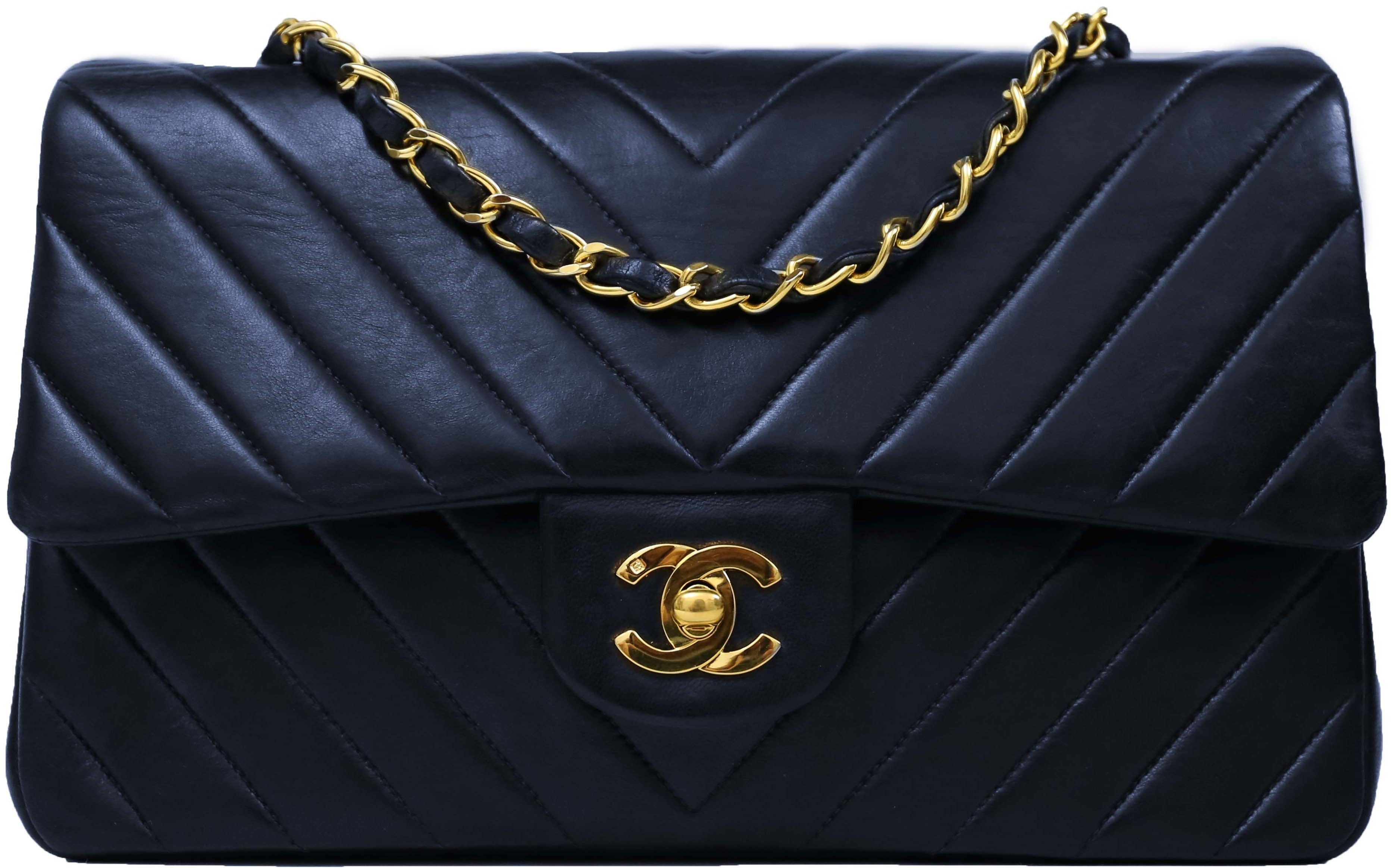 Chanel Vintage Classic Double Flap Chevron Quilted Medium Navy Blue