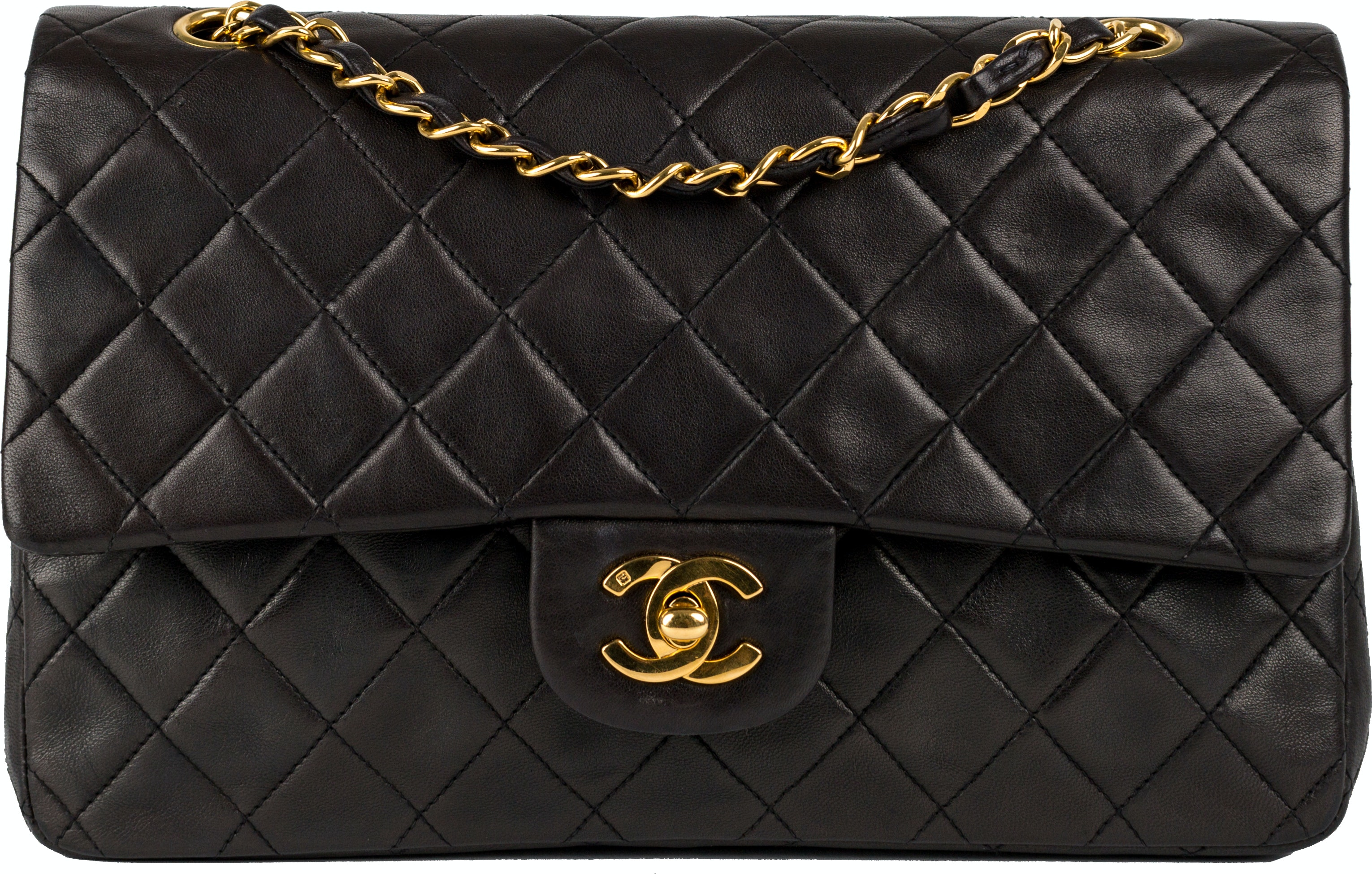 Chanel Vintage Classic Double Flap Quilted Medium Black