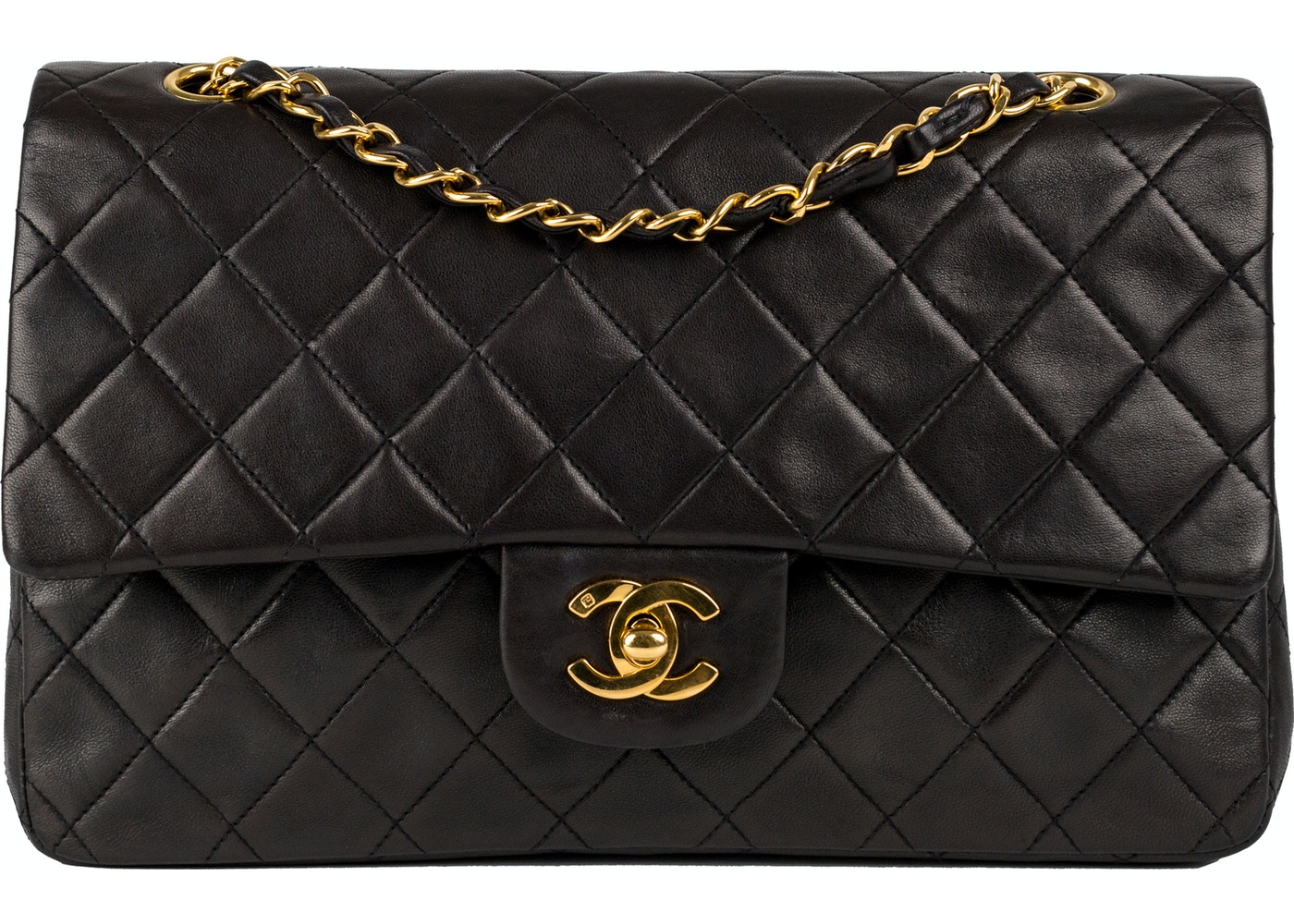 542cc7410422 Chanel Vintage Classic Double Flap Quilted Medium Black
