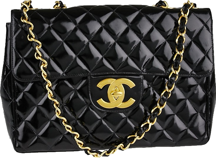 Chanel Vintage Classic Single Flap Quilted Jumbo Black