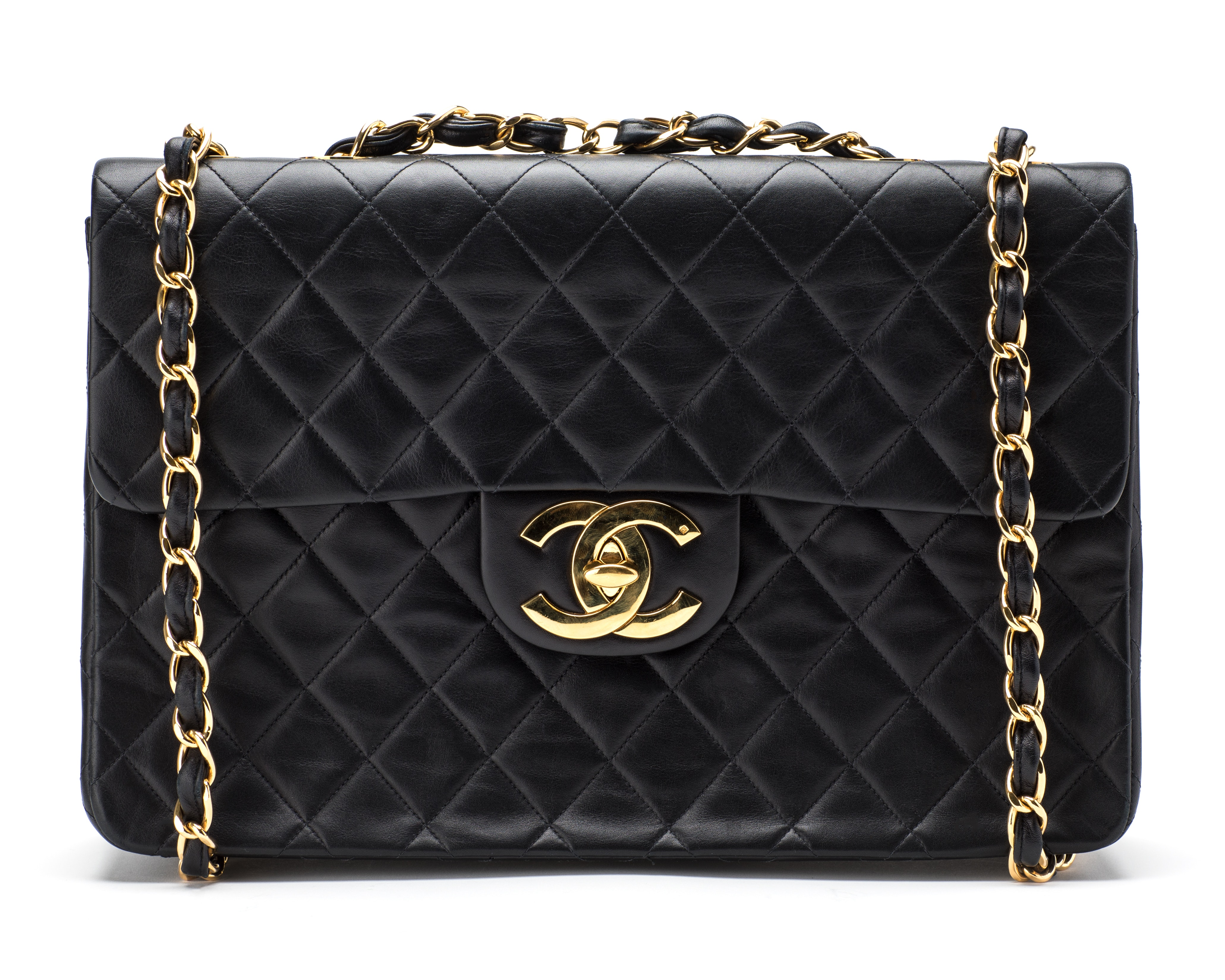 Chanel Vintage Classic Single Flap Quilted Maxi Black