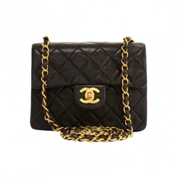 Chanel Vintage Classic Single Flap Quilted Mini Black