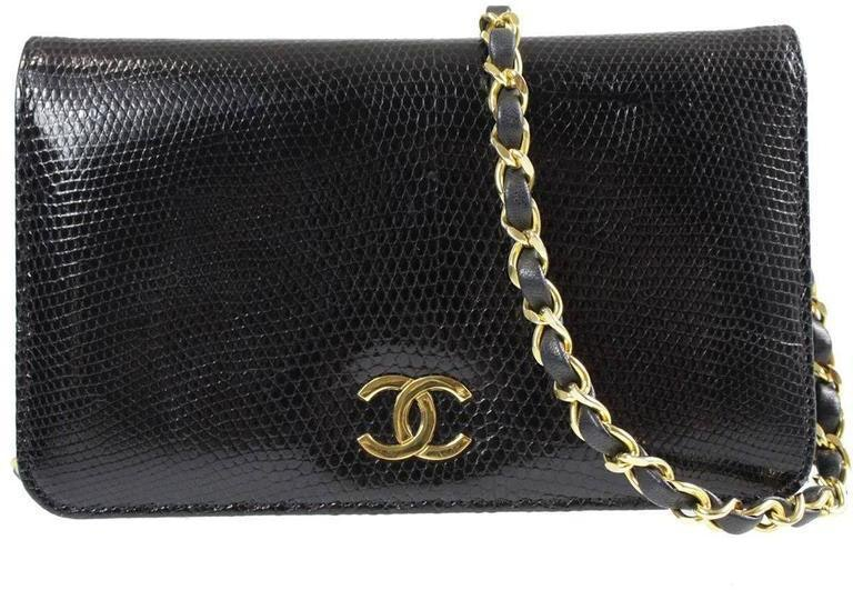 Chanel Vintage Flap Lizard Black