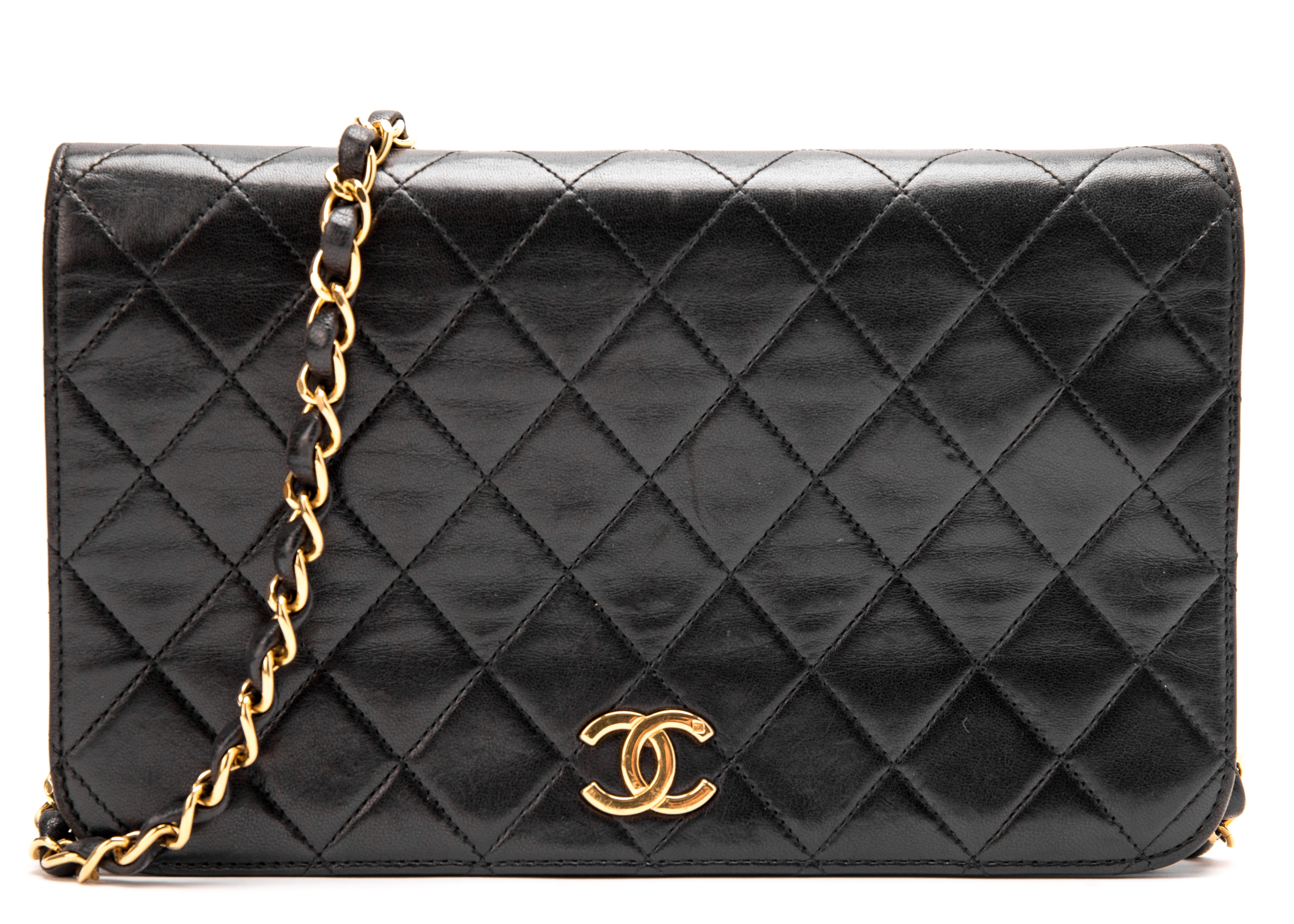 Chanel Vintage Flat Flap Quilted Small Black