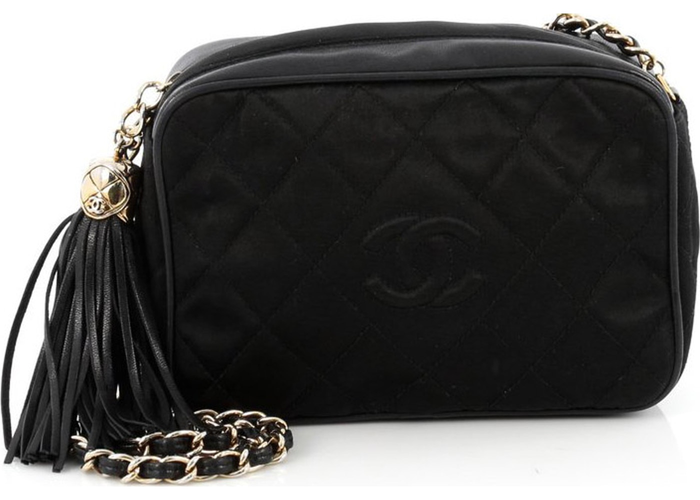 0e1c60771471a0 Chanel Vintage Satin Diamond CC Camera Bag Quilted Small Black. Quilted  Small Black