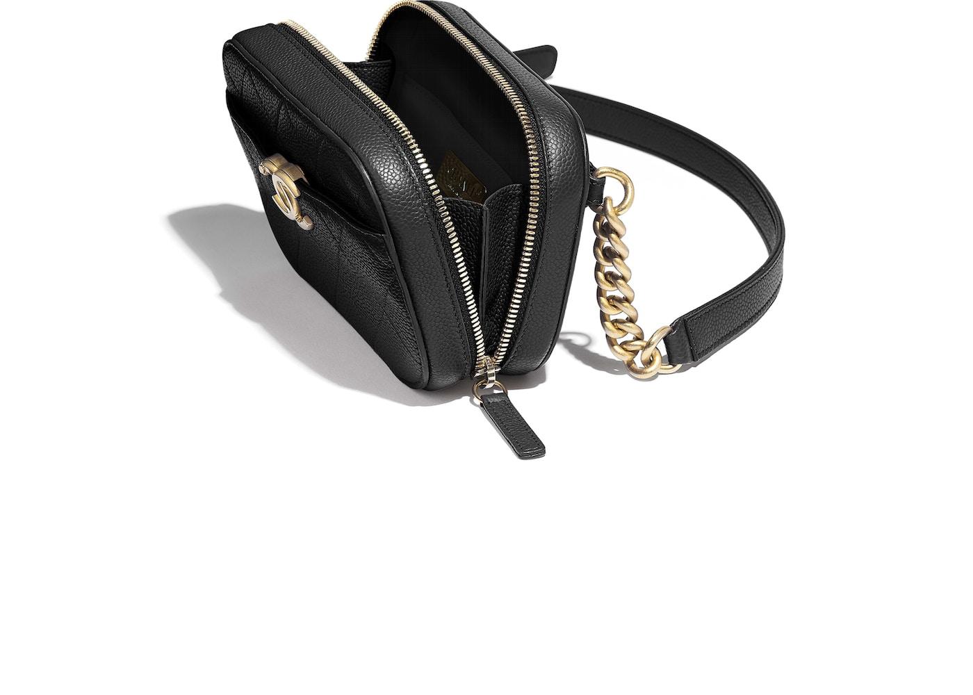 50c856c0cbc7 Chanel Waist Bag Stitched Grained Calfskin Gold-tone Black