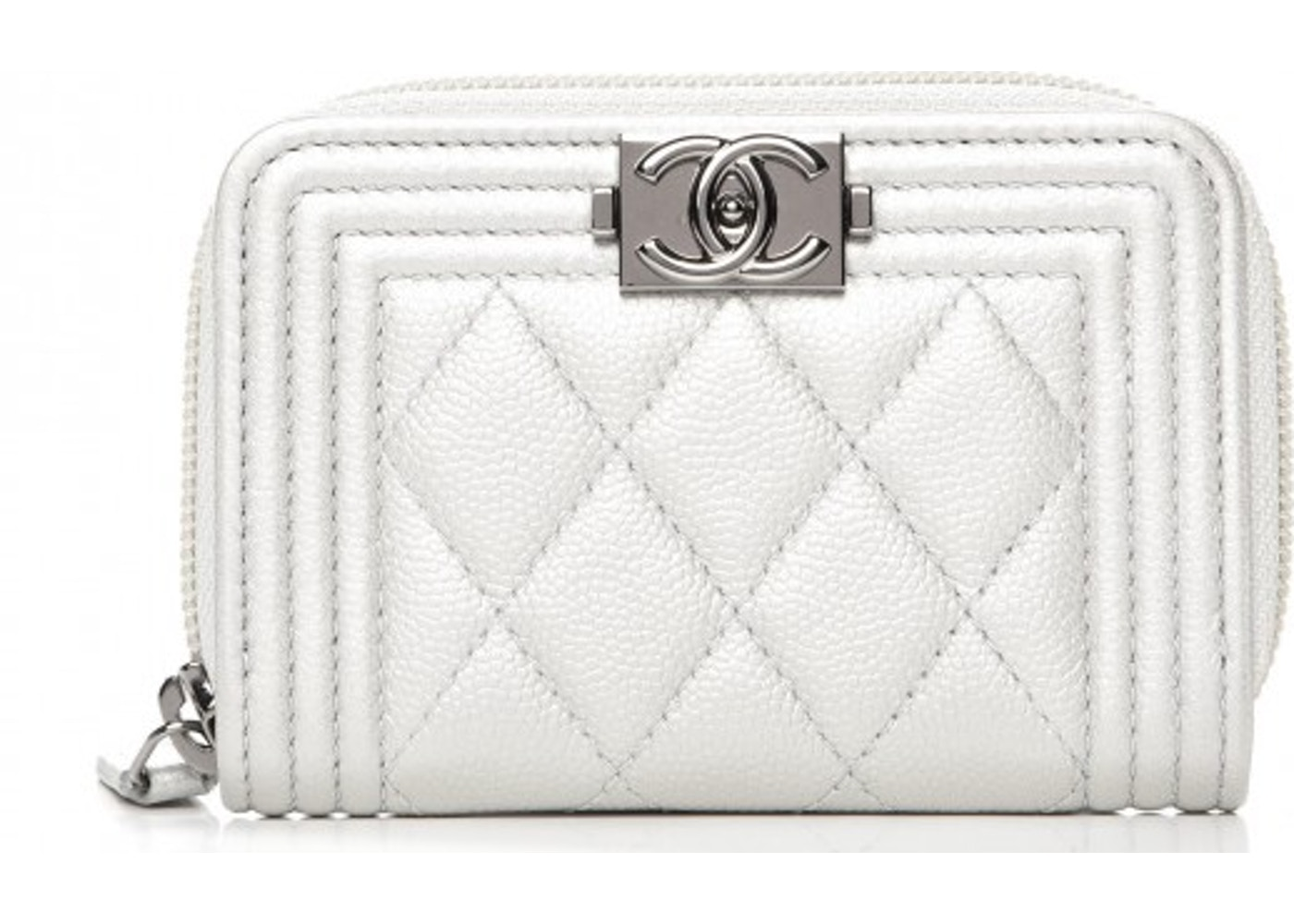 35a05a1bf07b Chanel Boy Zip Around Coin Purse Wallet Quilted Diamond White