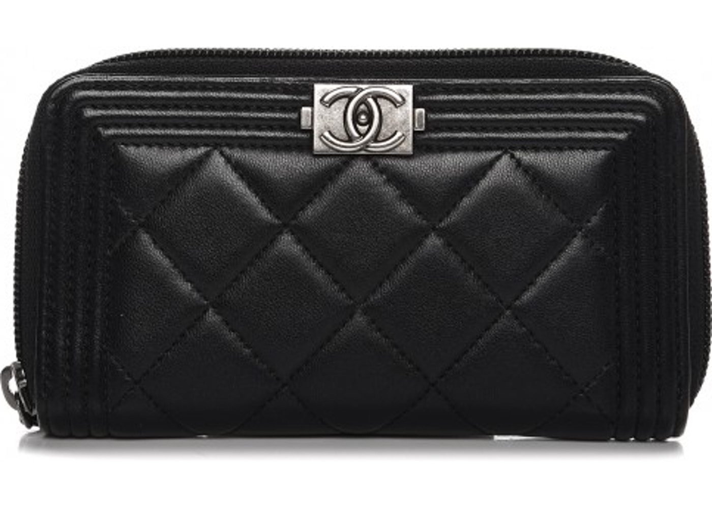 458c23f6ea2f Chanel Boy Zip Around Wallet Quilted Diamond Small Black. Quilted Diamond  Small Black