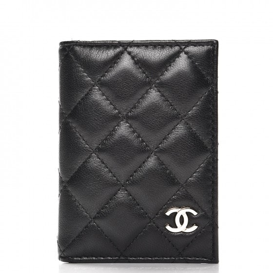Chanel Card Holder Wallet Quilted Diamond Black