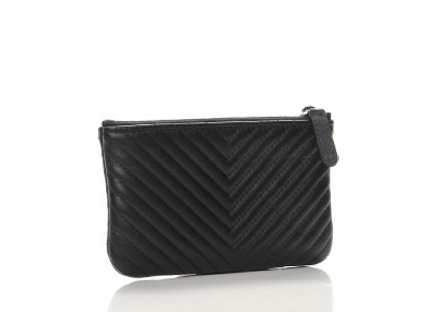 size 40 35272 f9d5d Chanel Cosmetic Case Wallet Chevron Small Black
