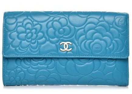 Chanel Flap Wallet Camellia Large Turquoise