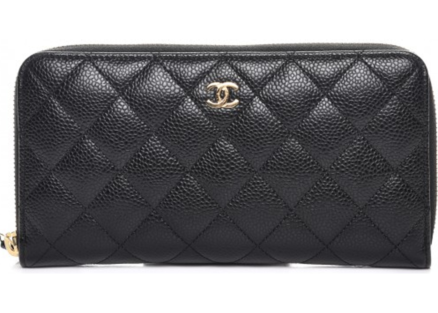 9fdadcee4a37 Chanel Gusset Zip Around Wallet Quilted Diamond Large Black. Quilted  Diamond Large Black