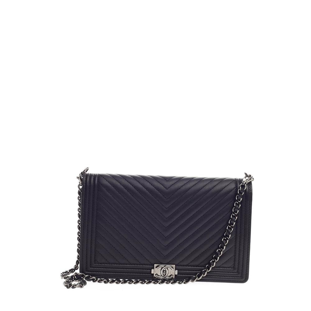 Chanel Boy Clutch Wallet On Chain Quilted Chevron Black