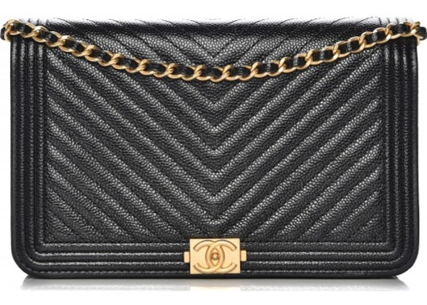 fcb356e56b78 Chanel Boy Wallet On Chain Quilted Chevron Black