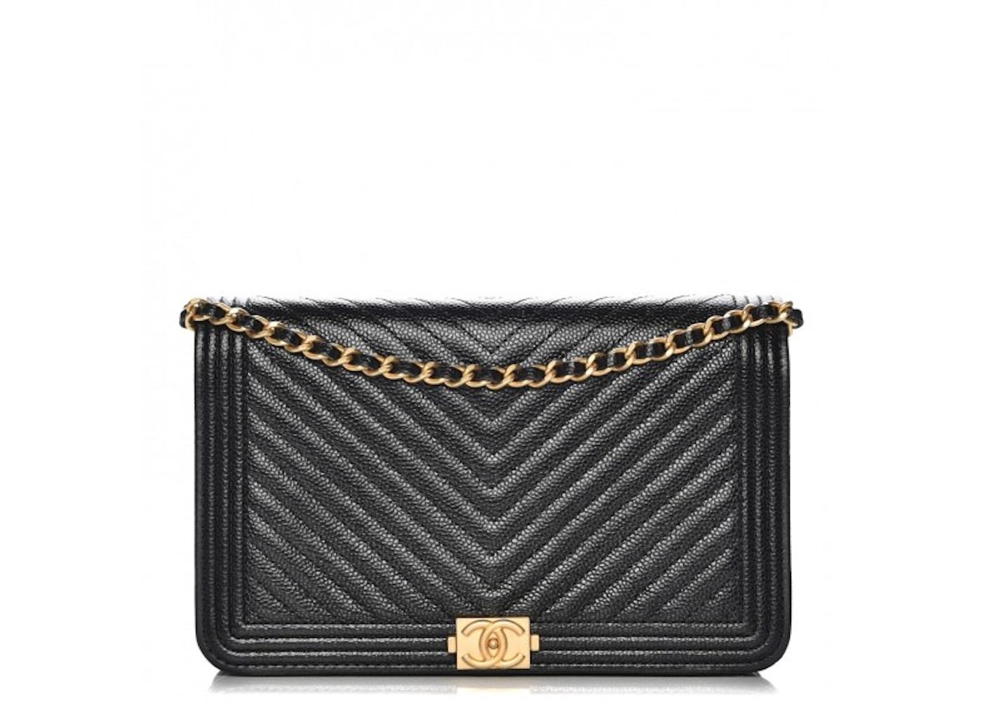 2fe480df Chanel Boy Wallet On Chain Chevron Caviar Gold-tone Black