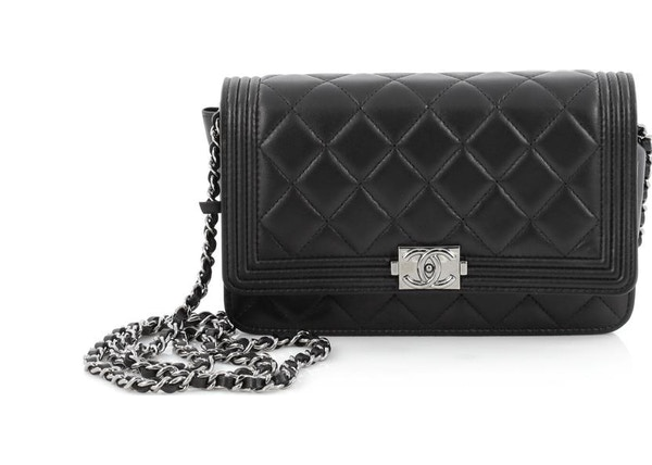198109b095f904 Chanel Boy Wallet On Chain Quilted Diamond Black