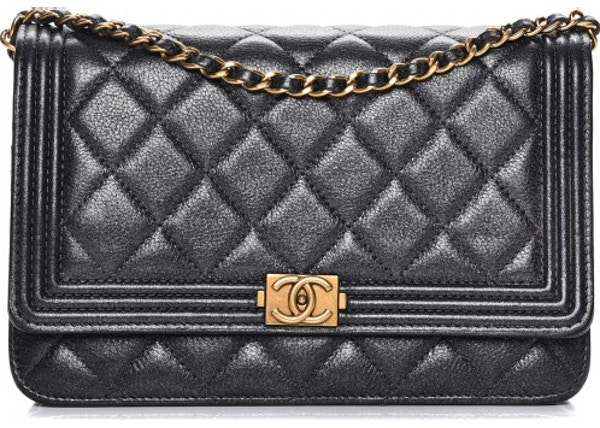 3f81c2830551 Chanel Boy Wallet On Chain Quilted Diamond Metallic Charcoal