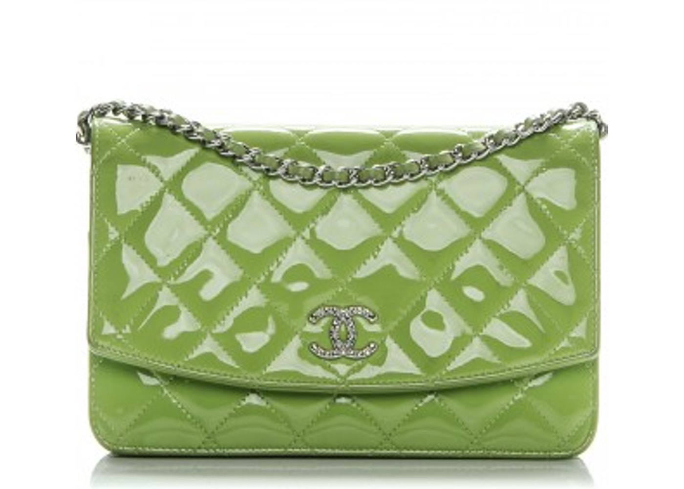 1706d19b2922de Chanel Brilliant Wallet On Chain Diamond Quilted Glossy Bright Green.  Diamond Quilted Glossy Bright Green