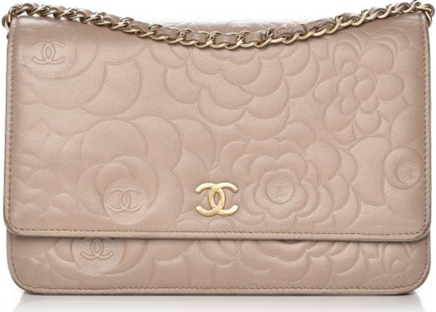 77e32d12488 Chanel Wallet On Chain Camellia Embossed Beige. Camellia Embossed Beige