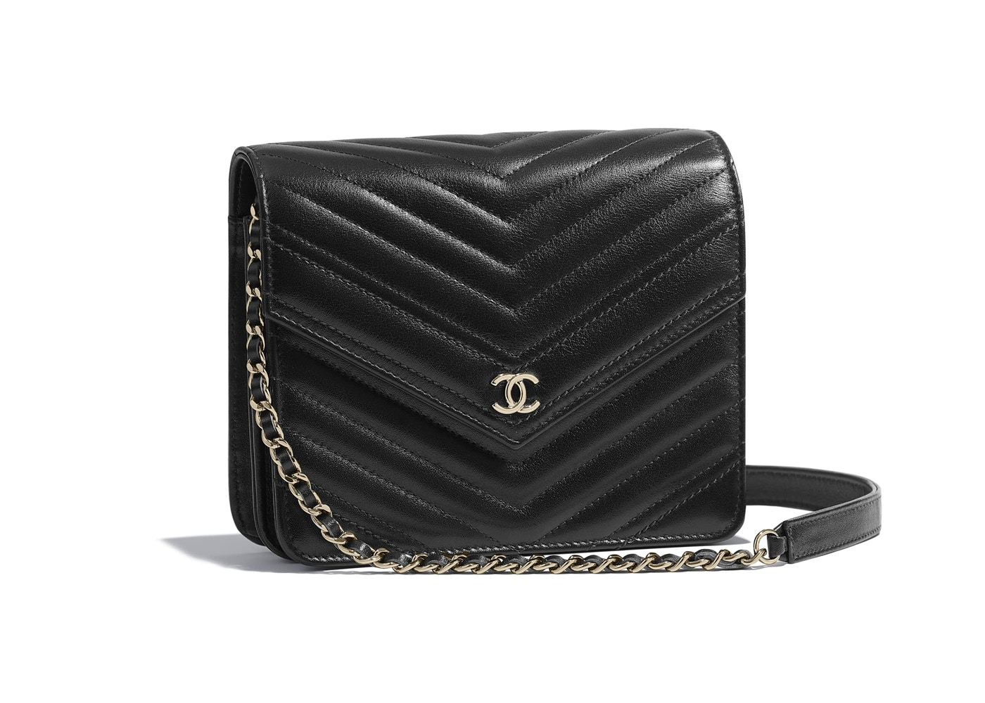 3d3a2c99377c Chanel Wallet On Chain Chevron Calfskin Gold-tone Black