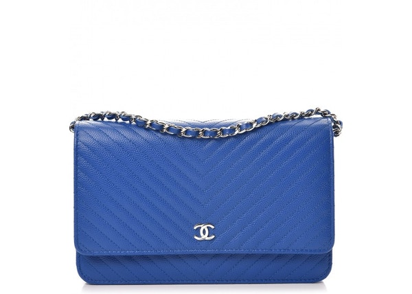 180ce02af3c2 Chanel Wallet On Chain Chevron Caviar Silver-tone Bright Blue