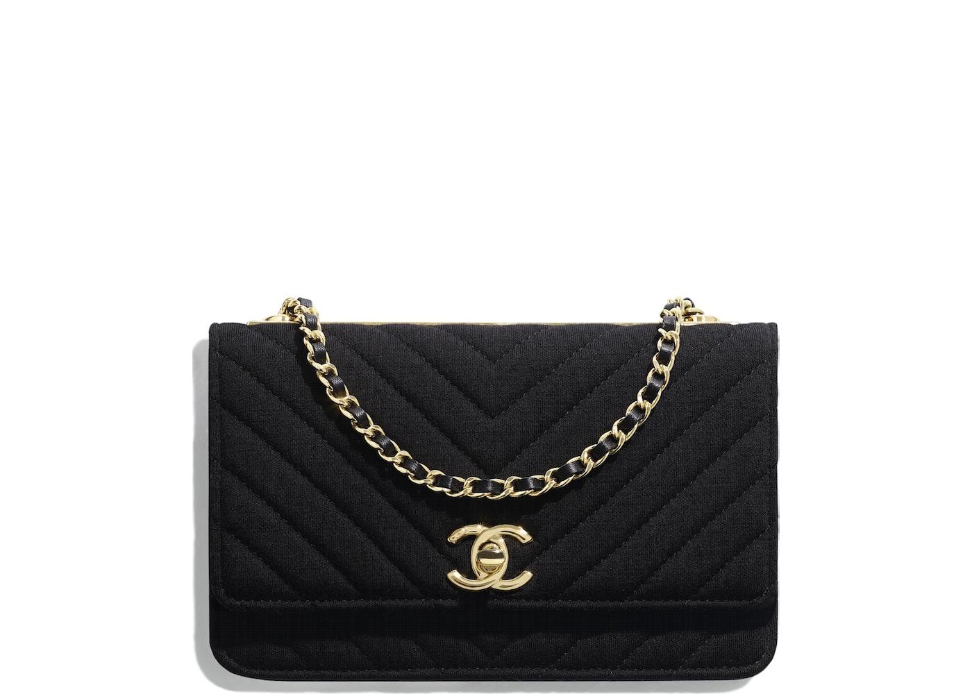 0c09bd60fec077 Chanel Wallet On Chain Chevron Jersey Gold-tone Black