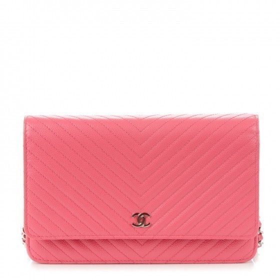 Chanel Wallet On Chain Chevron Quilted Pink