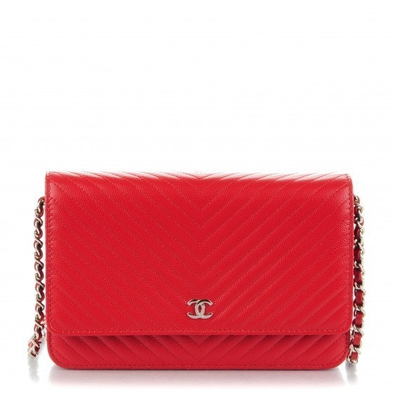 Chanel Wallet On Chain Chevron Quilted Red