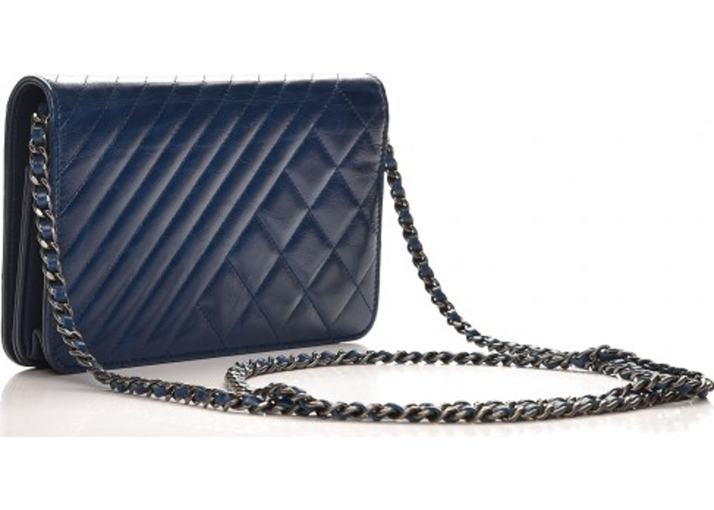 b8788d33f13d62 Chanel Coco Boy Wallet On Chain Quilted Diamond Glazed Blue