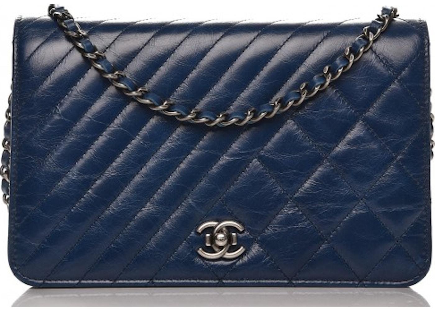 f8cb37047974fa Chanel Coco Boy Wallet On Chain Quilted Diamond Glazed Blue. Quilted  Diamond Glazed Blue
