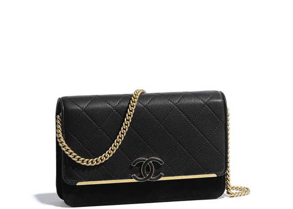 6d8945c5c81d47 Chanel Wallet On Chain Grained Calfskin/Suede Gold-tone Black
