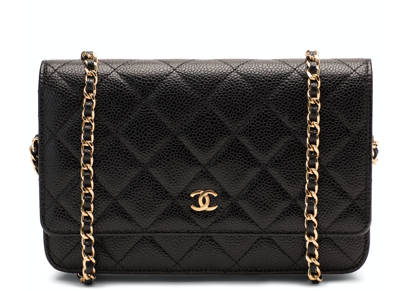 bcd24531 Chanel Wallet On Chain Quilted Caviar Gold-tone Black