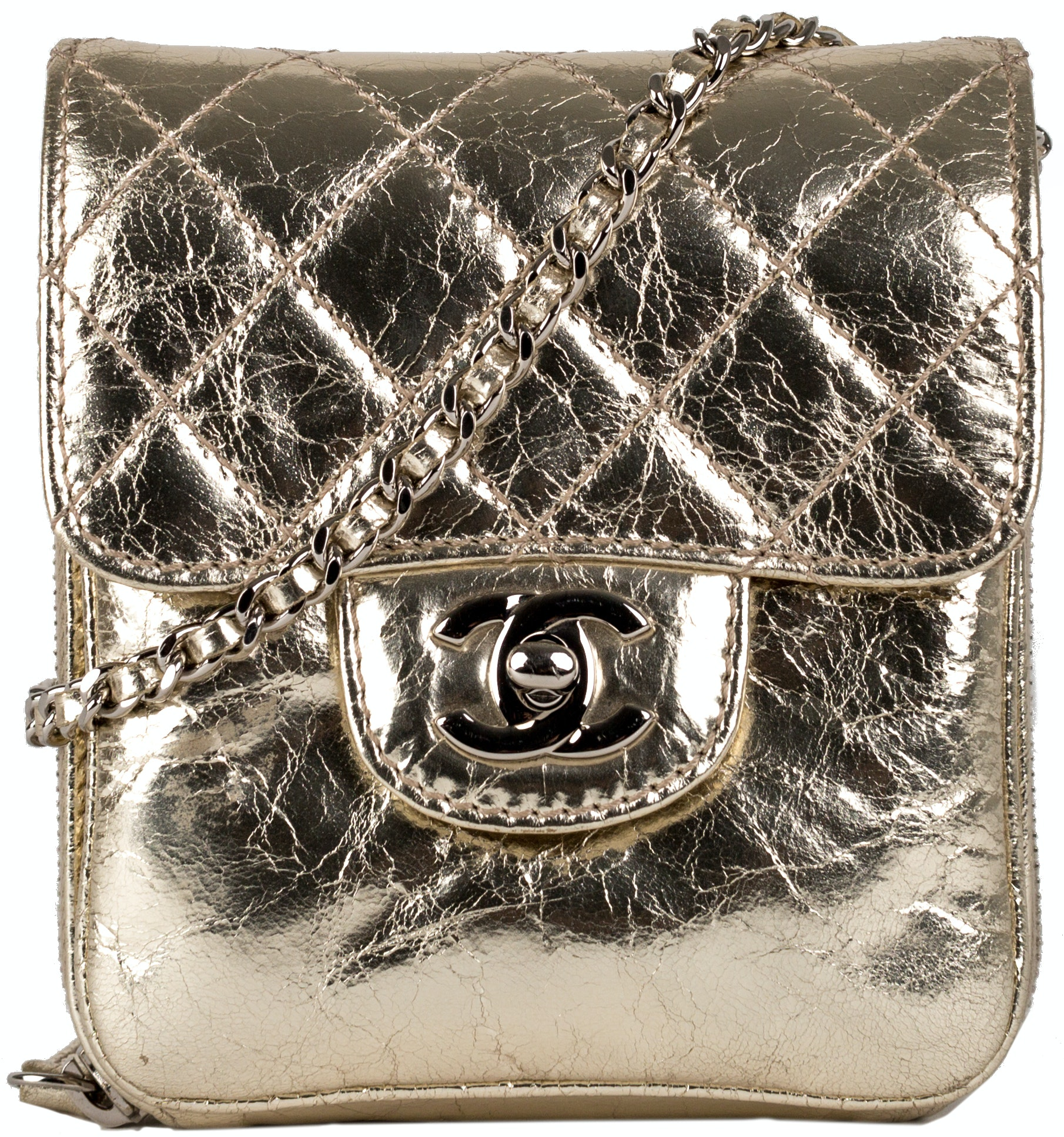 Chanel Wallet On Chain Quilted Metallic Mini Gold