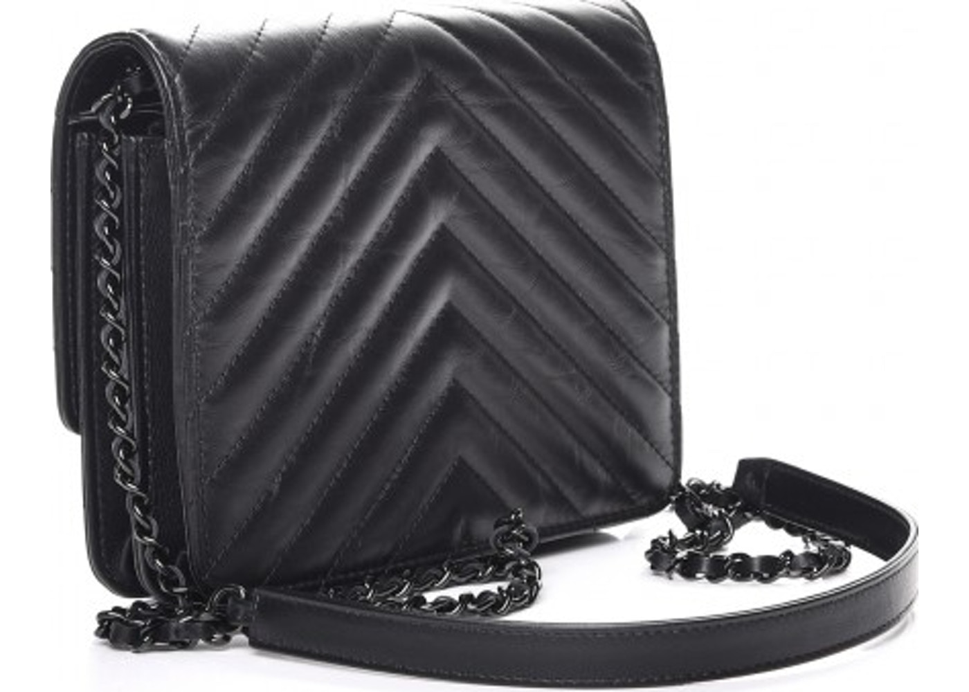 a8debbc4e86ba7 Chanel Reissue 2.55 Square Wallet On Chain Quilted Chevron Black