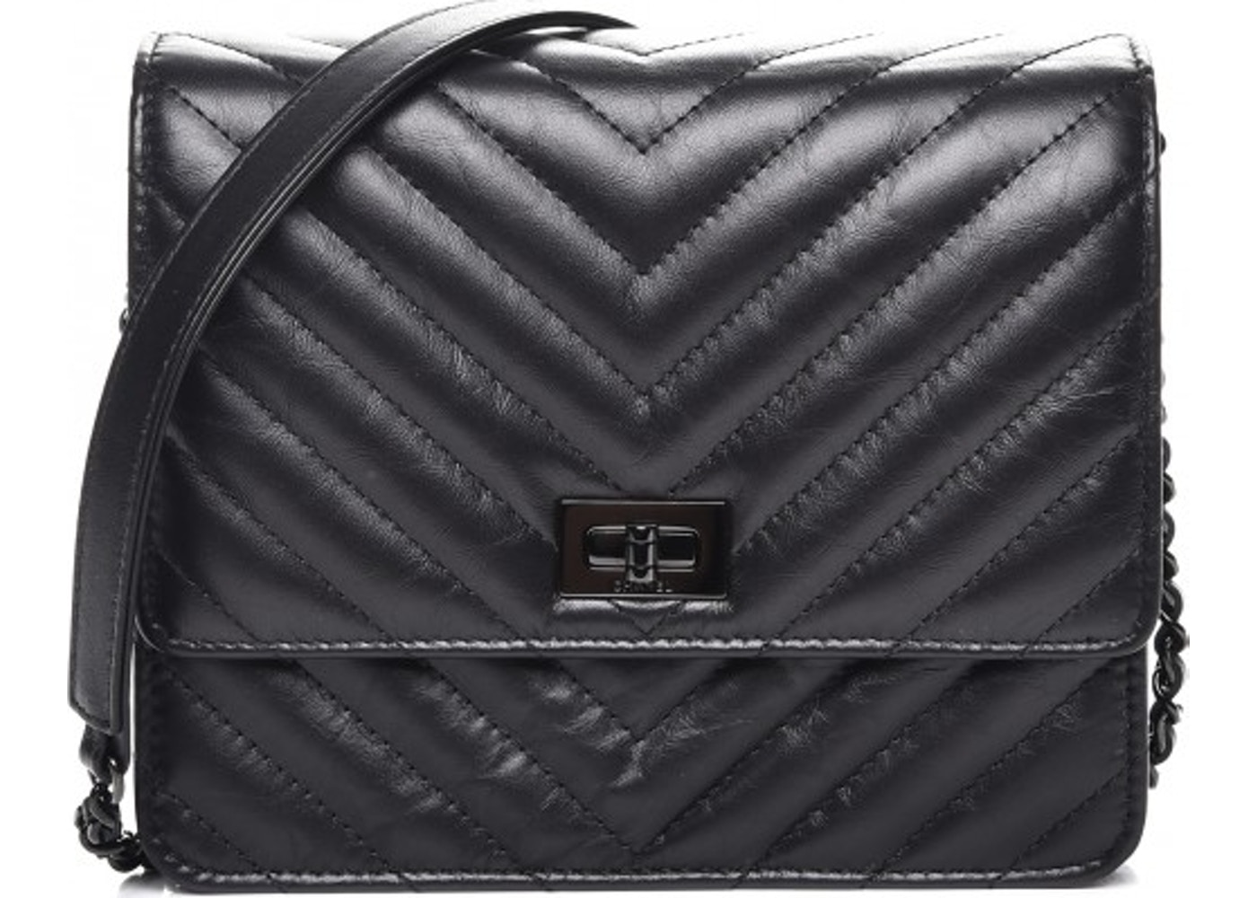 Chanel Reissue 2.55 Square Wallet On Chain Quilted Chevron Black 95bc17dfef